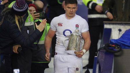 England captain Owen Farrell with the Calcutta Cup after the Guinness Six Nations match at BT Murray