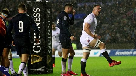 England's Ben Earl celebrates a try scored by Ellis Genge during the Guinness Six Nations match agai
