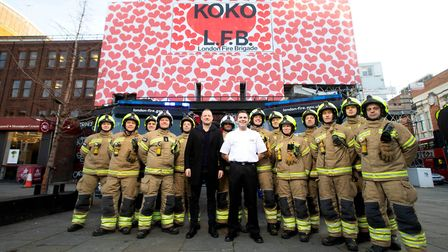 Servicemen from London Fire Brigade with Koko owner Olly Bengough (left) and LFB Camden borough comm