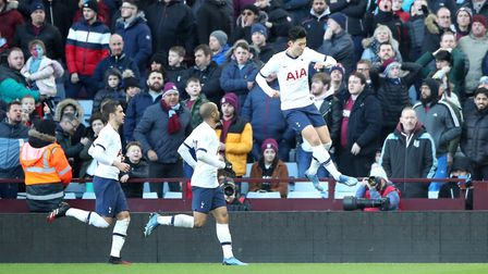 Tottenham Hotspur's Son Heung-min (right) celebrates scoring his side's second goal