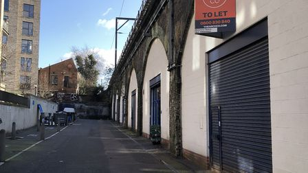 The Ponsford Street arches. Five are vacant, and two have 'to let' signs on them. Picture: Sam Gelde