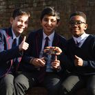 Pupils with one of the awards. Picture: Highgate School