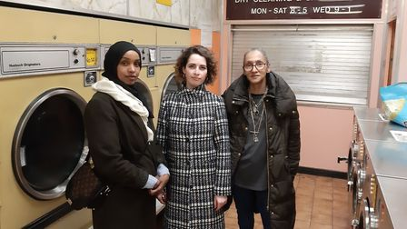 Celia King (right), Belsize councillor Luisa Porritt (centre) and hostel resident Ubah Ali (left) ca