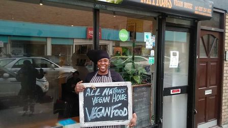 Chef Atreka outside her restaurant, All Nations Vegan House in Dalston. Picture: All Nations Vegan H