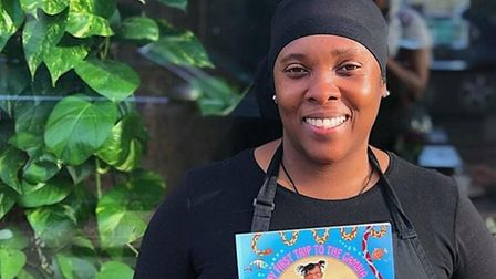 Chef Atrika showing love and support to a young author Makaylah Safiya William's who produced her ow