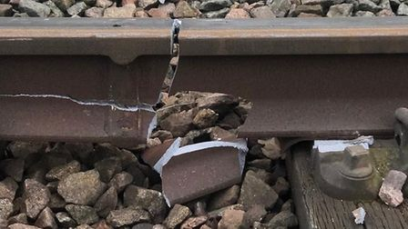 The broken rail caused by a derailed freight train. Picture: Network Rail