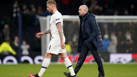 Tottenham Hotspur's Toby Alderweireld and manager Jose Mourinho after the UEFA Champions League roun