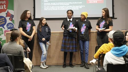 A team making their pitch for free music studio time to improve youth safety. Photo: Justin Thomas
