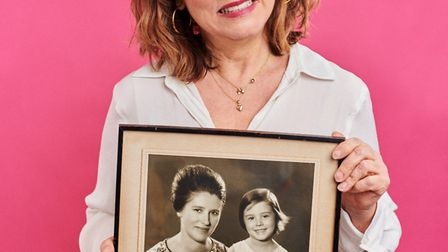 Arabella Weir with a photo of herself with mum Alison