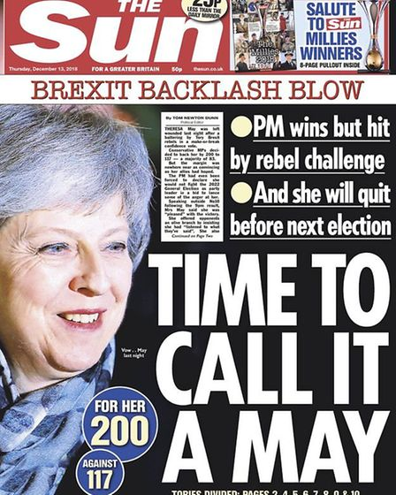 Front pages of the Sun after Theresa May survives a vote of no confidence. Photograph: Sun.