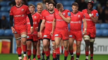 Saracens' players trudge off at half time o the Gallagher Premiership match at the Ricoh Arena, Cove