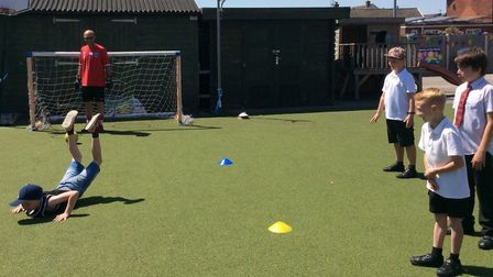 Penalty shoot-out fun at the Corton Primary School summer fair. Picture: Corton Primary School