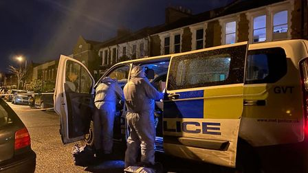 Police at the scene in Homerton Road. Picture: @999London