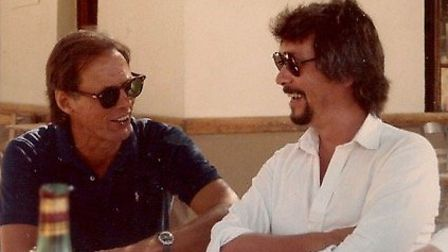 The travel writer (right) in Stoupa, Peloponnese, Greece. Summer 1985. Picture: Michael Haag friends