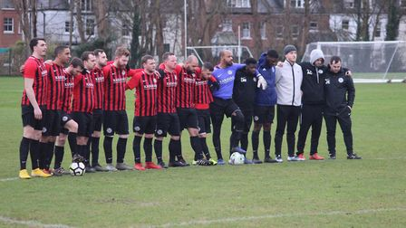 Highgate Albion during the penalty shoot-out against British Airways (Pic: John Eager)