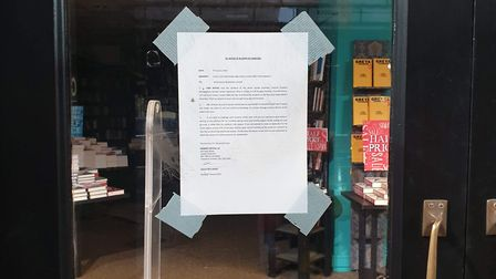 A sign on the door of Waterstones in Camden Town on Thursday. Picture: Anonymous