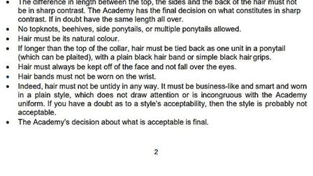 Mossbourne Victoria Park Academy's 'uniform and appearance policy'.
