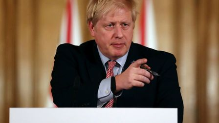 Prime Minister Boris Johnson speaking at a news conference inside 10 Downing Street. Picture: PA/Sim