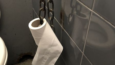 Toilet roll has been chained to the wall at the London Fields public toilet. Picture: Art Sejdiu