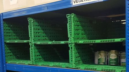Empty shelves at Hackney Foodbank last month. Picture: Melanie Rochford