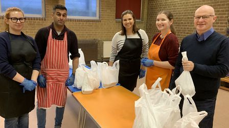 Organiser Martin Stone (right) and volunteers at Muswell Hill Soup Kitchen on Sunday, March 15. Pict