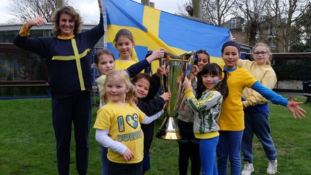 Pupils at The Village Prep in Belsize Park with the Champions Cup won by Saracens last season