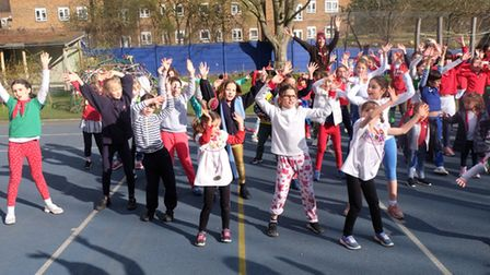 Netball star Jo Trip visited The Village Prep in Belsize Park during Sport Relief Week