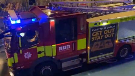 Fire crews at the scene of the chemical incident in Defoe Road, Stoke Newington. Picture: Gianluca A