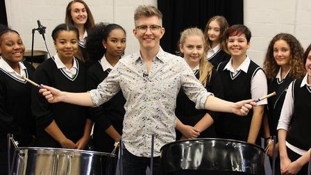 Gareth Malone pictured here with members of the Hornsey Girls' School Steel Pans Band is setting up