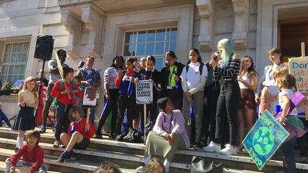Pupils from Clapton Girls' school join the climate rally outside Hackney Town Hall. Picture: Des Bar