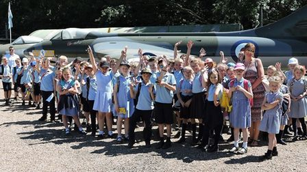 Woods Loke Primary School pupils visiting the Norfolk and Suffolk Aviation Museum at Flixton, near B