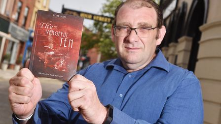 Crispin Hook pictured with his new book, The Vengeful Ten. Picture: ANTONY KELLY.