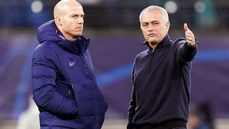 Tottenham Hotspur manager Jose Mourinho (right) speaks with head of first team performance Carlos La