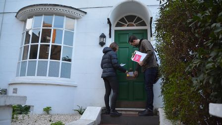 Door-knocking in NW3. Picture: Hampstead Volunteer Corps