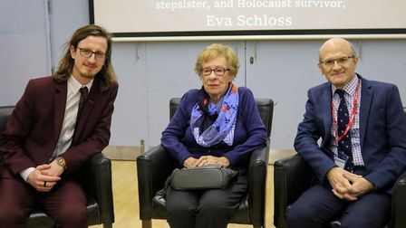 Oggy Soskic, Eva Schloss MBE and John Wood at The Hall School. Picture: John Wood