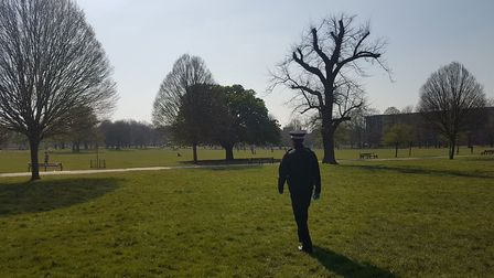 """Clissold Park. """"Far fewer people out, much better #SocialDistancing and fewer people breaching #Covi"""