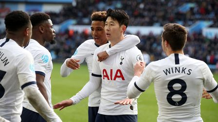 Tottenham Hotspur's Son Heung-min celebrates scoring his side's third goal of the game during the Pr