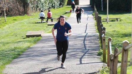 Members of the public get their daily exercise the day after Prime Minister Boris Johnson put the UK
