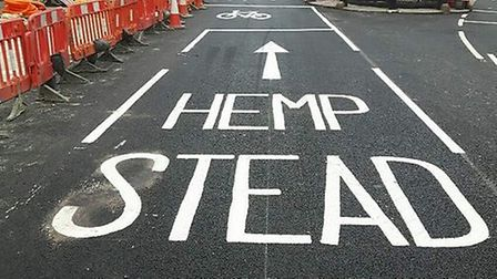 Hempstead? Transport for London's road painting team made an awkward spelling error. Picture: @Aksty
