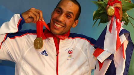 Great Britain's James Degale with his gold medal after beating Cubas' Emilio Correa Bayeaux in the m
