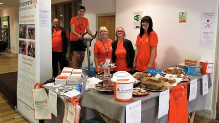 Volunteers from the Brainwave Independence Group, who took part in a static bike ride in May as part
