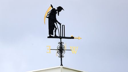 A view of the Old Father Time weathervane at Lord's