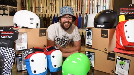 Grant Phillips, owner of Sk8box in Lowestoft, is promoting the importance of wearing safety equipmen