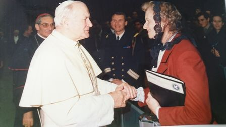 Helen-Taylor Thompson with the pope. She was the chair of the hospital's board and instrumental in i