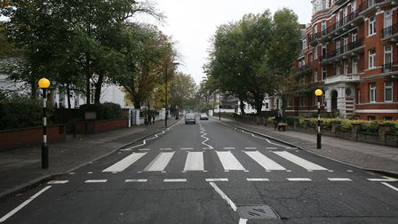 With roads left empty, council officers gave the Abbey Road crossing a fresh lick of paint. Picture: