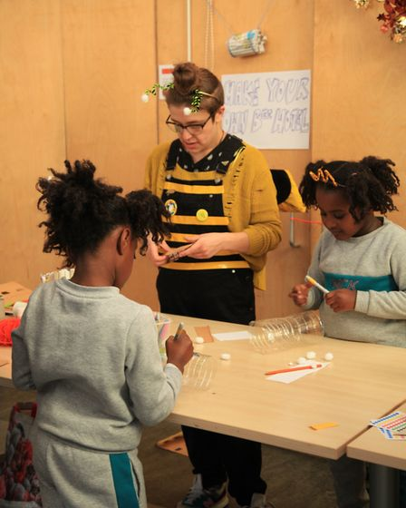Kirsty Reynolds runs an art class with children. The sessions are taking place online during the cor