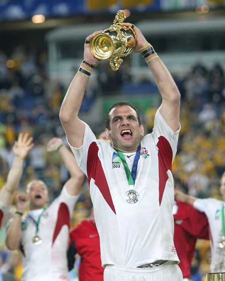 England's Martin Johnson lifts the Webb Ellis Cup after victory in the 2003 Rugby World Cup Final