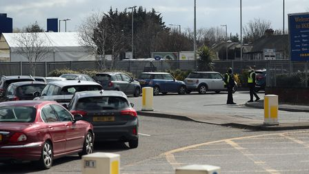 Traffic at the new Covid-19 test centre for NHS workers at Ikea. Picture: Jonathan Brady/PA