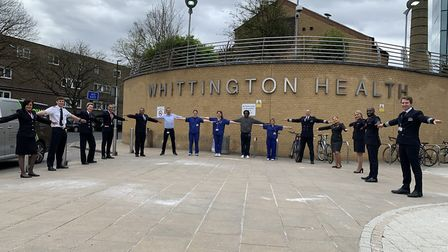 Cabin crew and pilots have arrived at the Whittington Hospital to help support NHS staff. Picture: W