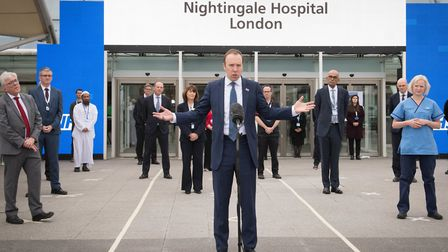 Health Secretary, Matt Hancock at the opening of the NHS Nightingale Hospital at the ExCel centre in